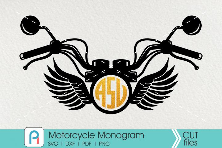 Motorcycle Monogram Cut File - a motorcycle vector