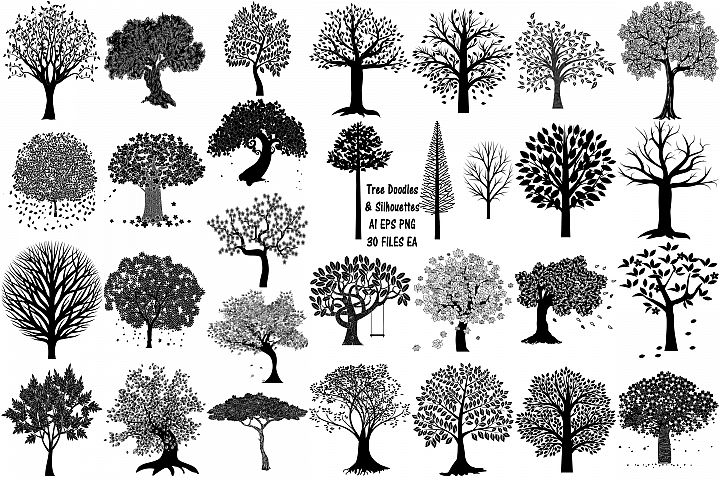 Tree Doodles & Silhouettes AI EPS Vector & PNG