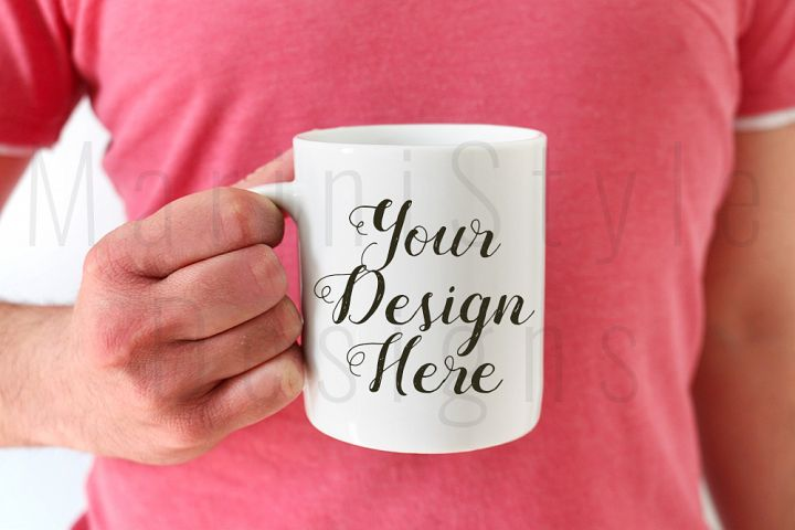 Mug Mockup, Mans hands holding coffee mug, 386