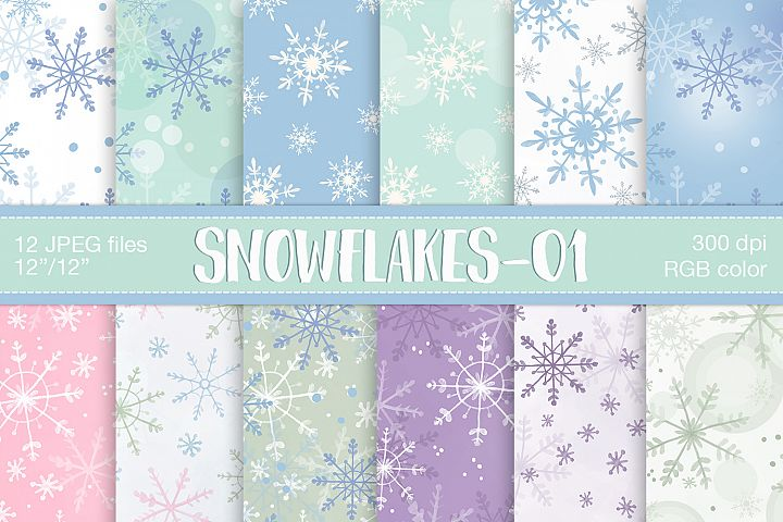 Snowflake digital paper, Christmas digital papers