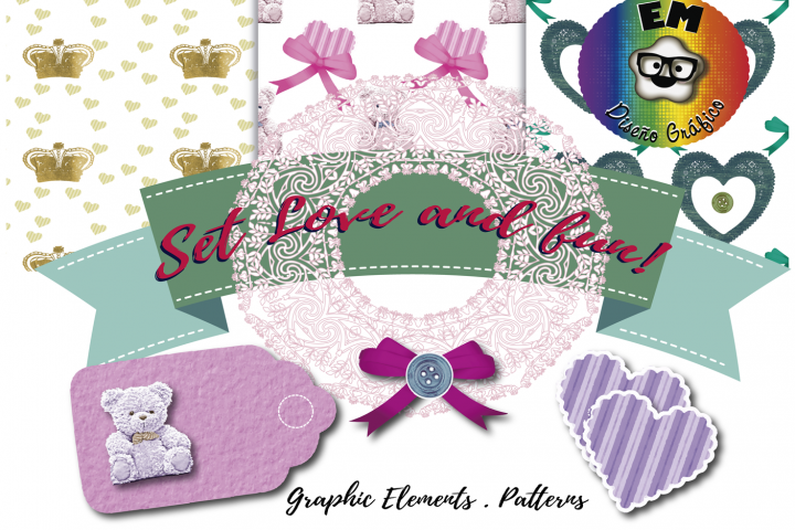 Set Love and Fun! Graphics elements and patterns