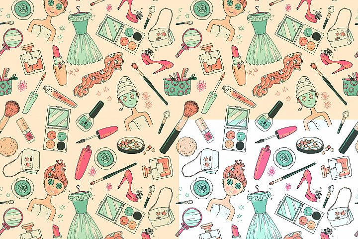 Doodle cosmetics, fashion, spa and beauty. Vector. - Free Design of The Week Design 1