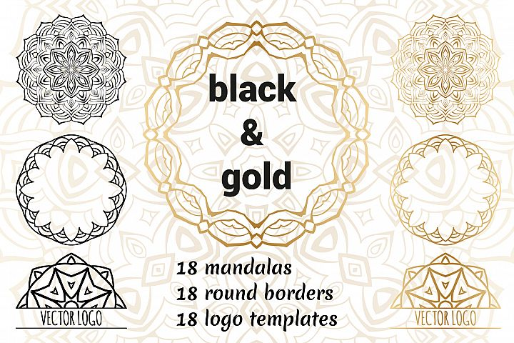 Set of decorative elements. Black and gold