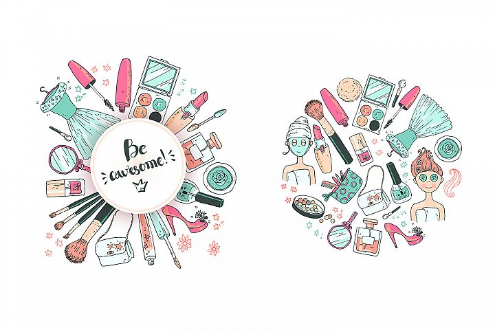 Doodle cosmetics, fashion, spa and beauty. Vector. - Free Design of The Week Design 4