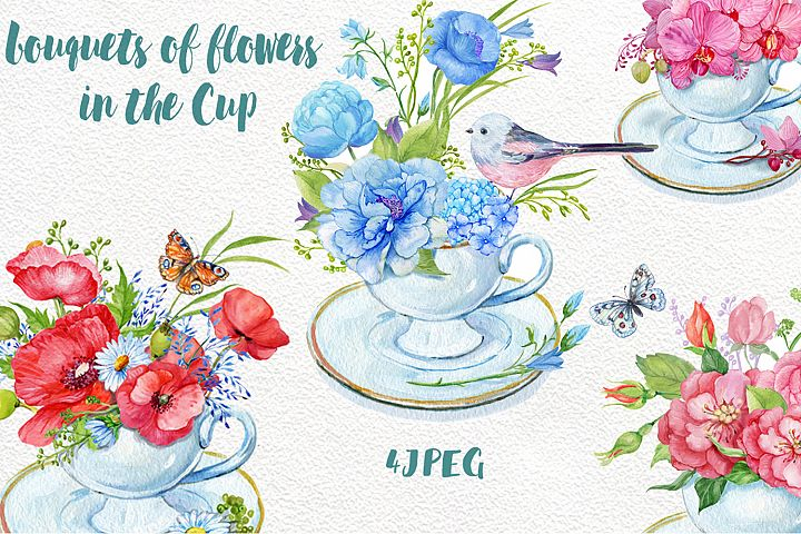 bouquets of flowers in the Cup.
