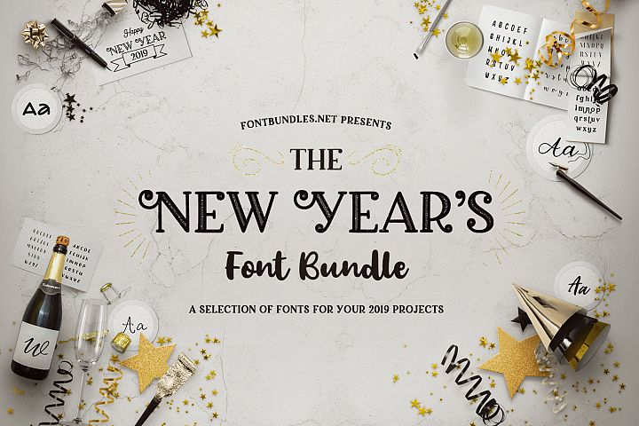 The New Years Font Bundle Cover