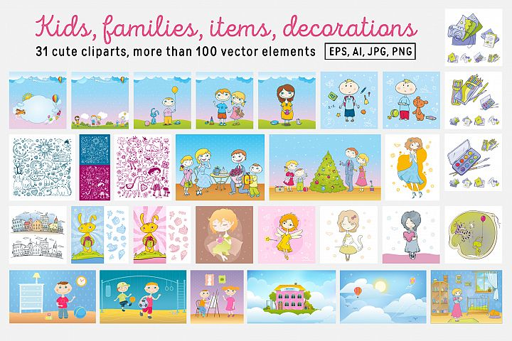 Kids and Families vector art example 7