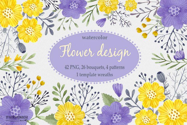 Watercolor flower design.