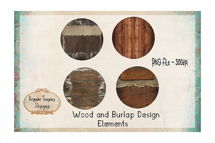Wood and Burlap Design Element Set