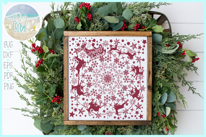 Santa With Reindeer Snowflakes Stars Glass Block Design SVG
