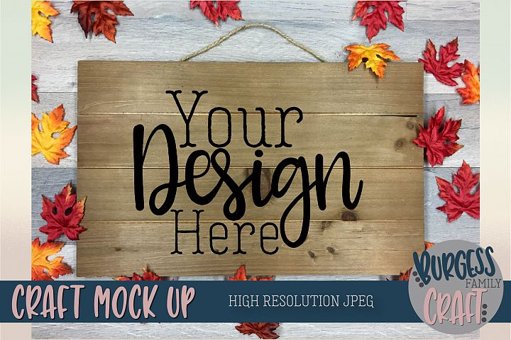 Wood sign craft mock up Fall themed |High Resolution JPEG