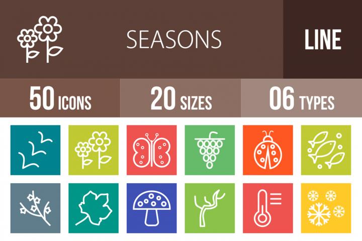 50 Seasons Line Multicolor B/G Icons
