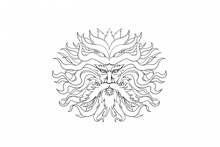 Helios Greek Sun God Head Drawing Black and White