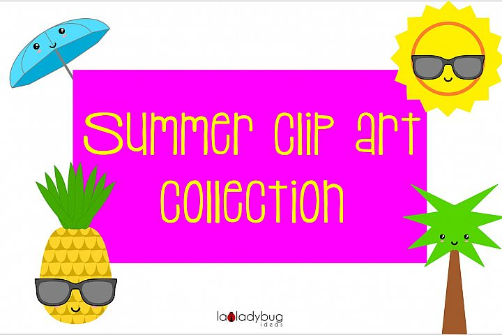 Summer clip art collection. 30 elements. Kawaii style.