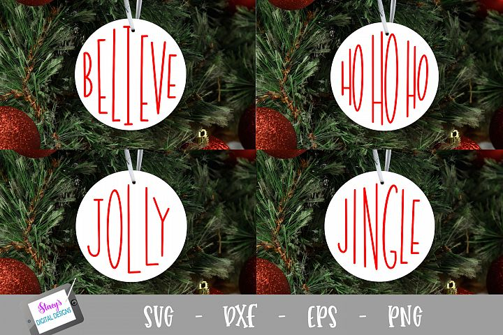 Christmas Words SVG - 4 round ornament designs