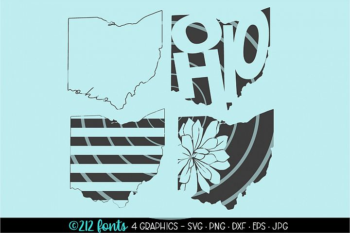 4 - Ohio State Map Graphic Cut File DXF PNG JPG SVG EPS