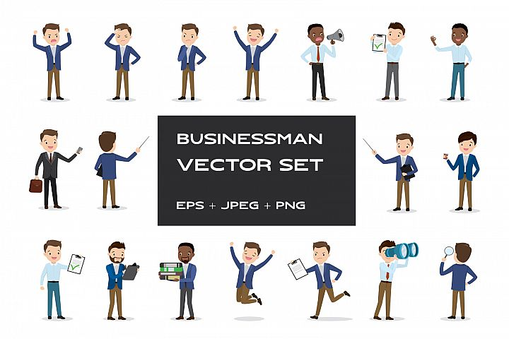 18 different businessman characters