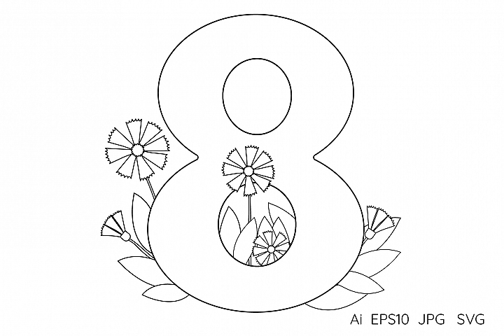 Numeral, number eight. Flowers. Coloring page.