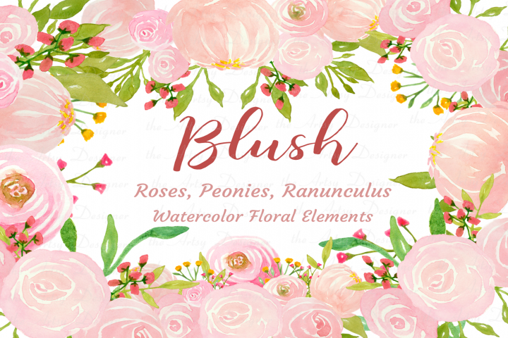 Watercolor Blush Pink Flowers Clipart Bundle Peonies Rose