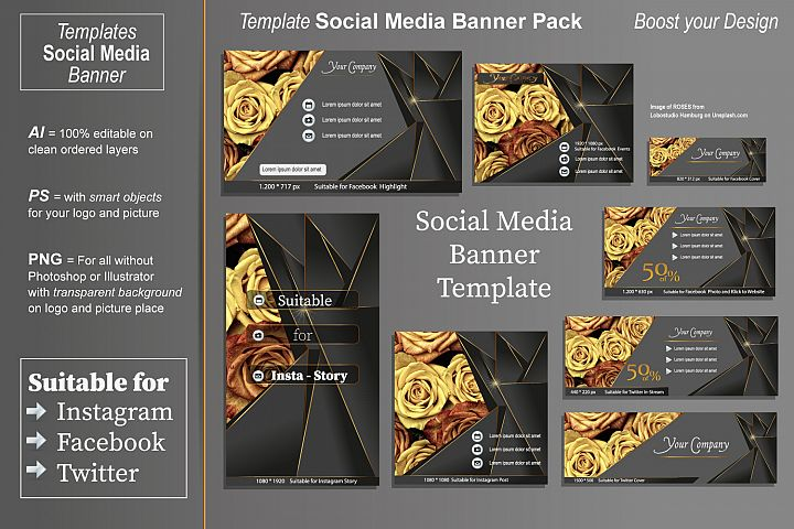 Template - Social Media Banner- Golden Times