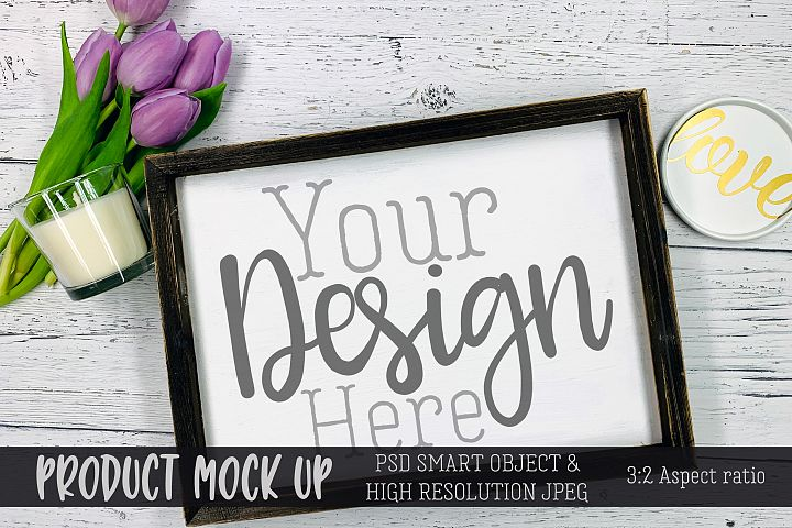 Spring wood sign Craft mock up | PSD & JPEG