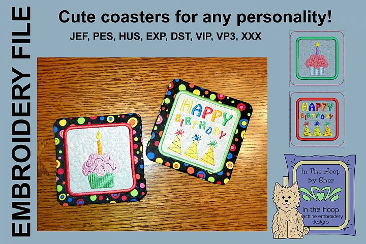 Birthday Coasters - 4 x 4 and 5 x 7 Hoops