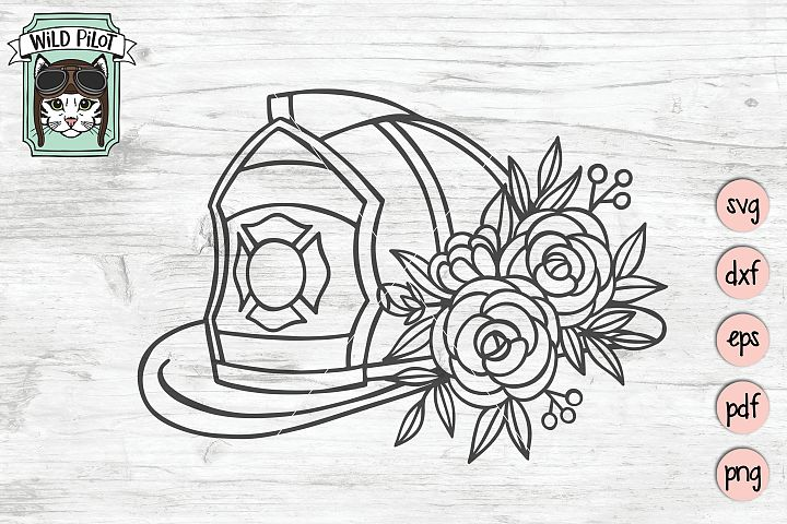 Firefighter svg file, Firefighter Wife, Floral, Flower