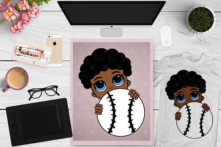 Afro Peeking Baby Boy, Baseball, Sport, Ball SVG Cut File