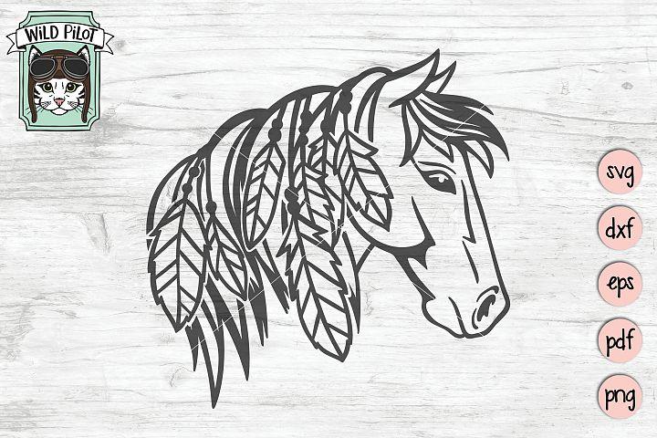Horse SVG file, Horse Cut file, Boho, Rustic, Feathers