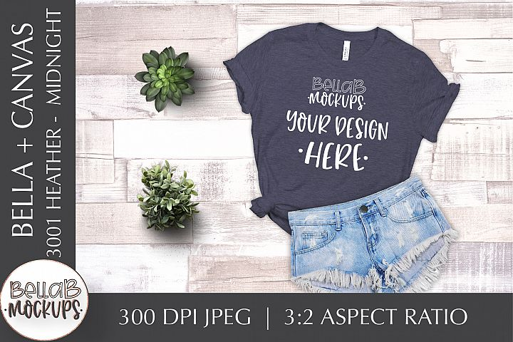 Bella Canvas 3001 Heather Womans T Shirt Mockup, Midnight
