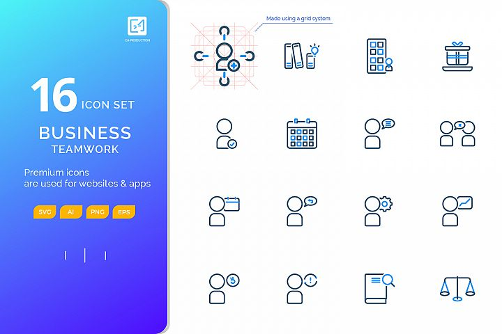 Icon set BUSINESS TEAMWORK outline color style