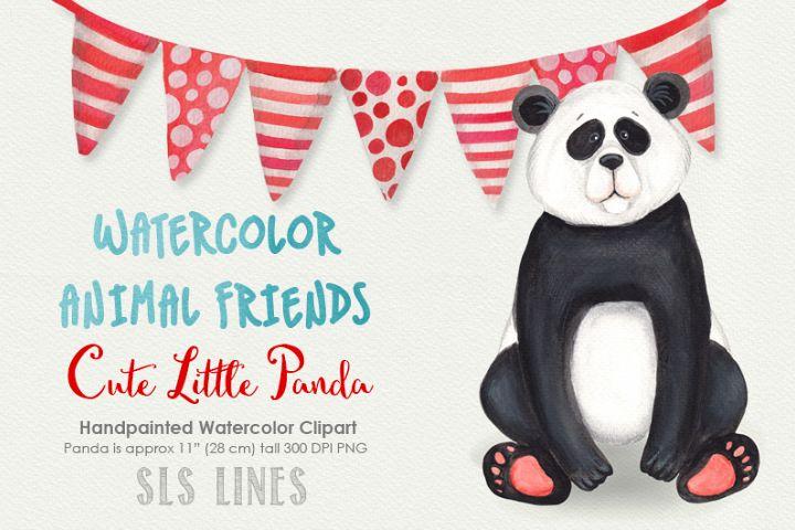 Cute Panda Watercolor Illustration