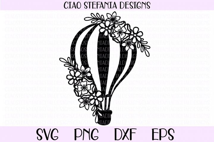 Hot Air Balloon With Flowers SVG Cut File