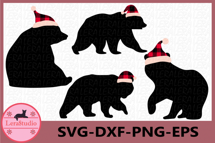 Bear Svg, Christmas Svg, Bear Buffalo Plaid Svg, Bear