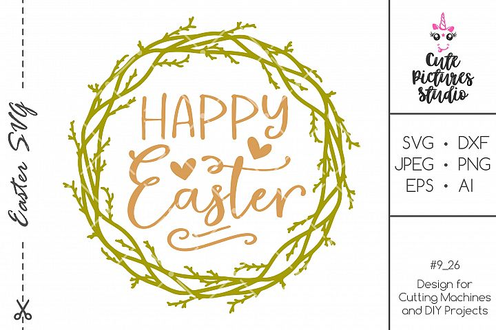 Happy Easter wreath SVG png, Willow wreath SVG