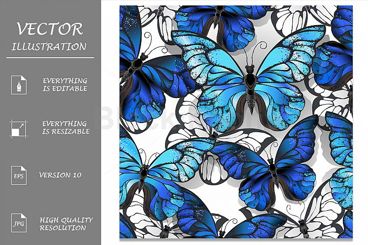 White Seamless Pattern with Blue Butterflies