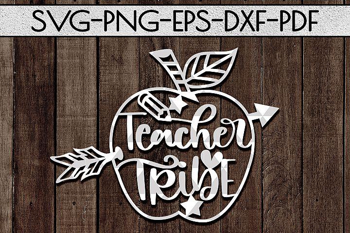 Teacher Tribe Papercut Template, Teacher Appreciation SVG