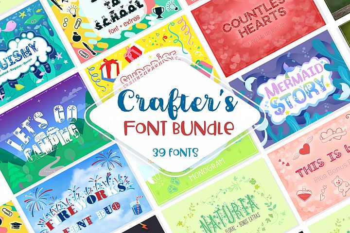 Sale! Crafters Huge Font Bundle | 39 Fonts in 26 Families