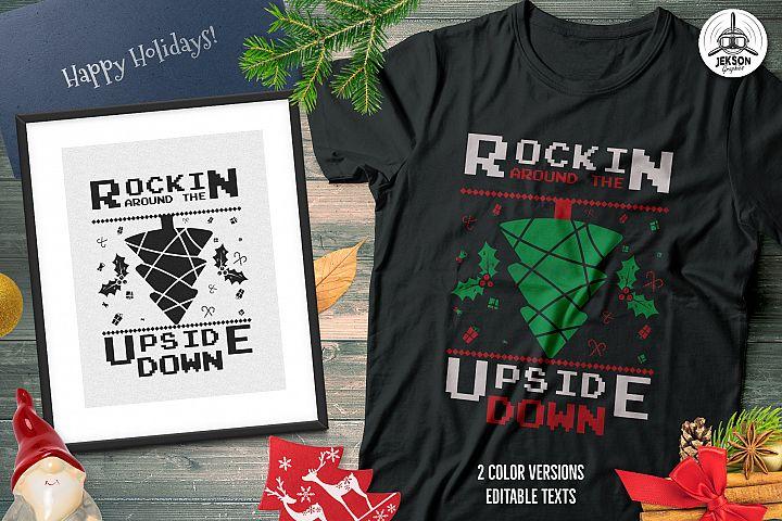 Christmas Tree T-Shirts, Retro Design. Xmas Tee SVG Cut File