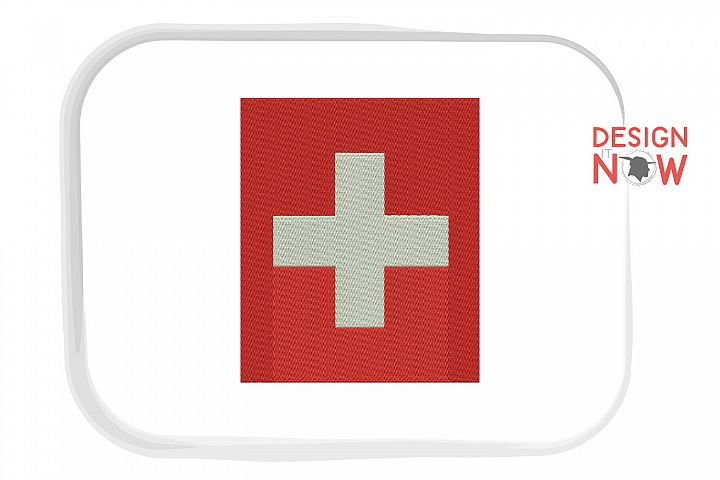 Flag Of Switzerland Embroidery Design, Map Embroidery