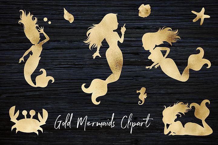 Gold Mermaids Clipart