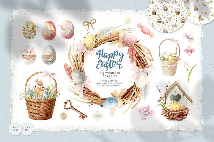 Happy Easter Watercolor Clipart