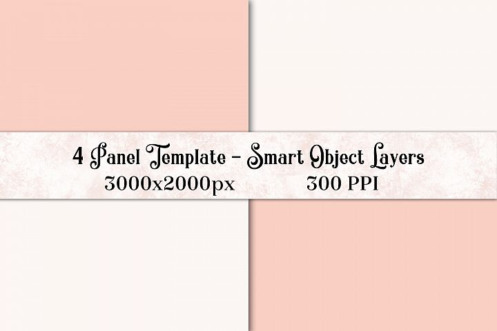 4 Panel Photoshop Template with Smart Object Layers