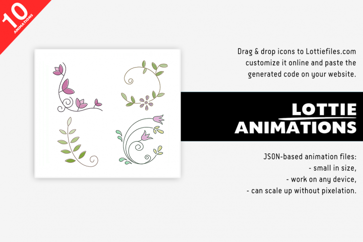 Animated Lottie flower animations pack