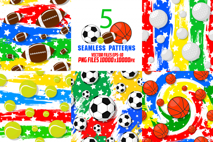 The seamless patterns on the sport theme.