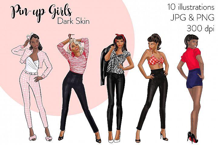 Fashion illustration clipart - Pin up Girls - Dark Skin