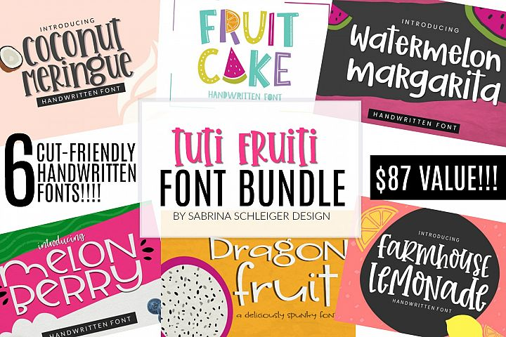 Tuti Fruiti Font Bundle- Handwritten Font 6 Pack