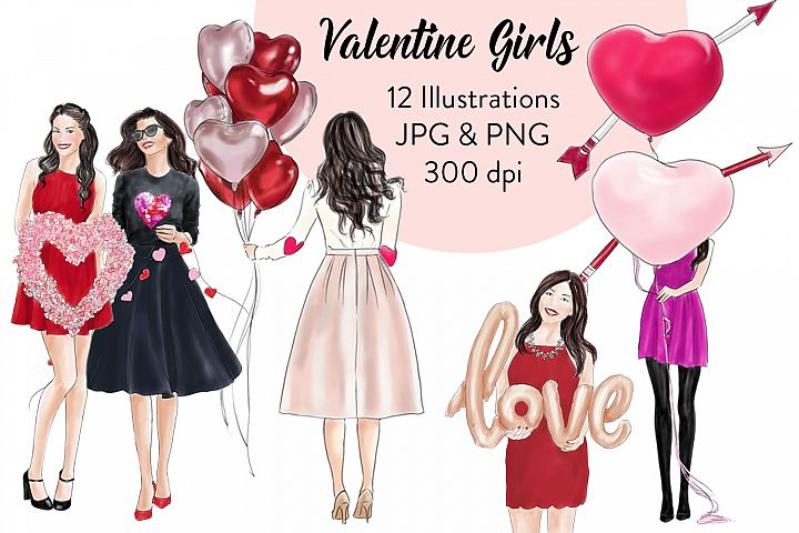 Valentine girls fashion clipart