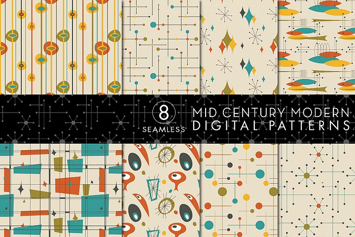 8 Seamless Mid Century Modern Patterns - Set 3