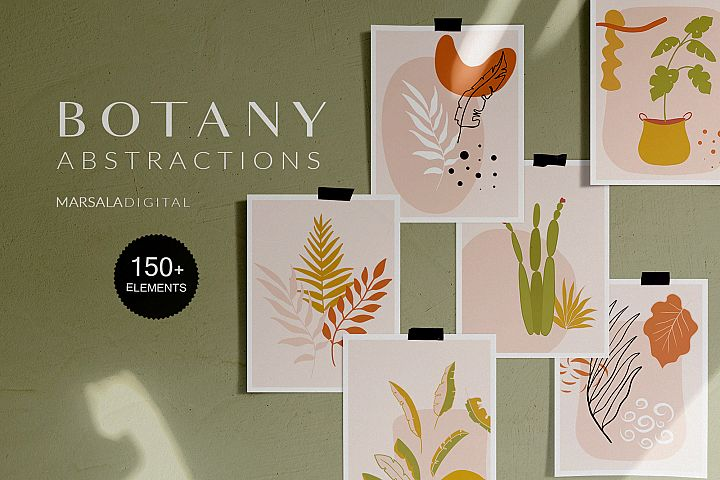 Botanical Abstract Collection Leaves Tropics Summer